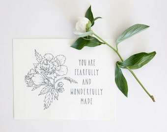 Rose Floral Illustration // You Are Fearfully And Wonderfully Made // Floral Drawing // Botanical Print // Poppi Paper Co