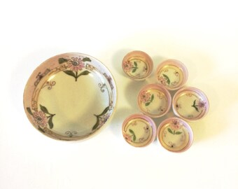 Vintage BiBi Ware Hand Painted Porcelain Nut Set