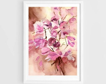 "Original watercolor,Magnolia flowers,flower garden,original painting,8""3x11""8,home decor"