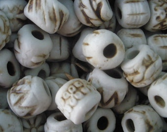 6 Ceramic Spacer Beads/ Carved Clay Beads Kiln Fired Spacers/ High Fired Ceramic Clay/ Round Bead Carved Beads/ 14mm Spacers BE111