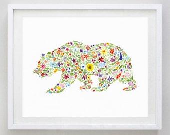 Bear Floral Watercolor Art Print