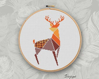 Geometric Wild Deer Cross Stitch pattern Deer Pattern Forest Woodland Animals Modern Cross Stitch Easy Cross Stitch Brown color
