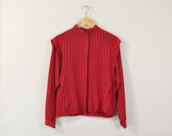 Silk Striped Blouse, Vintage 80s Blouse, Minimal Striped Oxford, Long Sleeve Button Up Blouse, Red and Black Blouse, Mandarin Collar Blouse