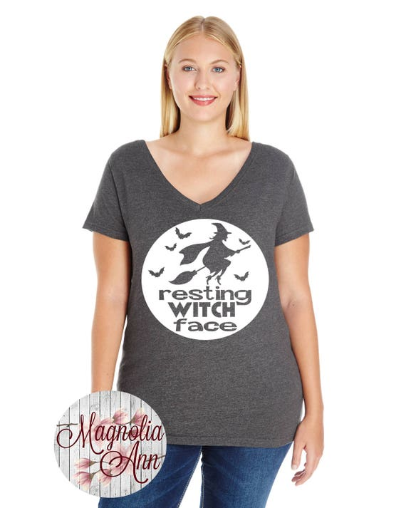 Resting Witch Face, Halloween, Women's Premium Jersey V-Neck T-shirt in Sizes Small-4X, Plus Size Clothing, Plus Size Halloween, Curvy