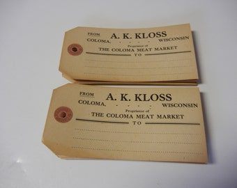 12 Vintage Advertising Shipping Tags A.K Kloss Coloma Wisconsin Meat Market