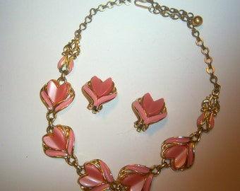 Pink Thermoset  and Enamel Tulip Necklace and Earring Demi