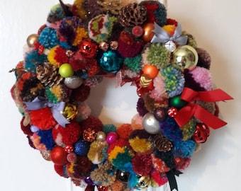 Christmas, Yule or Winter pompom wreath. 350mm diameter.