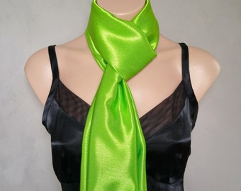 Green Scarf, Green Scarves, Lime Green Scarf, Reversible Scarf, Skinny Scarf, Daphne Scarf, Green Lime Scarf, Free Shipping, Scarves Daphne