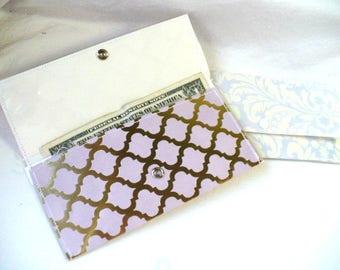Gold Purple Wallet, Cash Envelope System, Womens Wallet, Baptism Gift, Graduation Gift, Slim Wallet, Gift Set, Minimalist Wallet, 7 Inch
