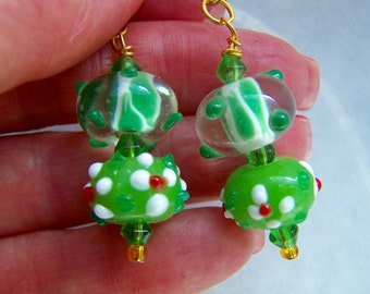 Green Lampwork Glass Dangle Earrings Doodaba