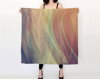 Satin square scarf,printed abstract scarf,chiffon scarf, abstract scarf,art scarf,shawl,designer scarf,cover-up,gift for her,angel wings
