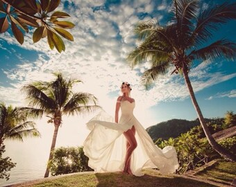 """Long Chiffon Wedding Dress with Lace, Lace Wedding Dress with Train """"Yacia"""", Romantic wedding gown, Custom dress, Beach Wedding Dress"""