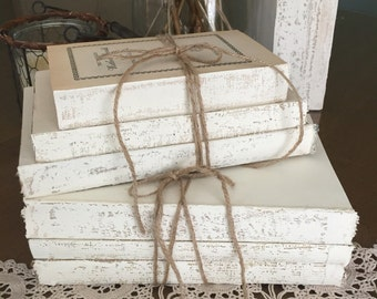 Painted Books, Uncovered Books, Rustic Wedding Table, white books, Uncovered Books,Repurposed Books, Old Books, Decorative Books