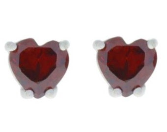2 Ct Garnet Heart Stud Earrings .925 Sterling Silver Rhodium Finish
