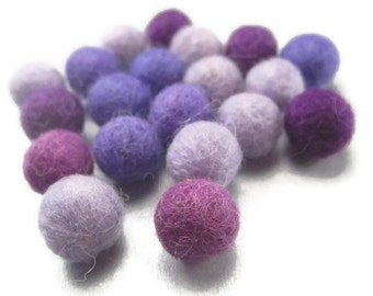 20 Purple Felted Wool Balls 1cm 10mm 3/8 Inch Color Mix Tiny PomPoms