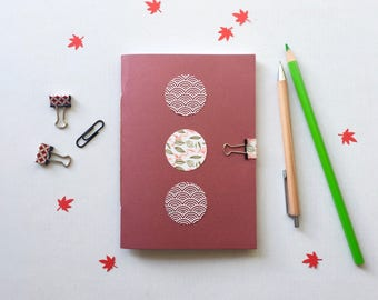 A6 Japanese handbound notebook   pocket notebook   small notebook   journal   stationery   washi notebook    red notebook     gifts for her
