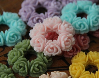 16 pcs of 8 colors of resion wreath cabochon 30x30x5mm-RC0080-Mixture color