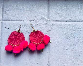 Sunshine pom pom earrings