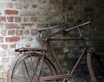 Fine Art Photography - Old Bicycle and Used Bricks