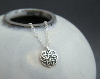 "tiny celtic circle necklace. delicate oxidized pattern. dainty sterling silver pendant. simple. geometric. everyday. zen. minimalist 3/8"""