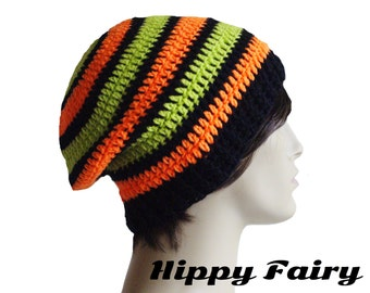 Mens slouchy beanie,Slouch hat,Mens beanie hat, mens striped hat, crochet mens hat, beanie for men