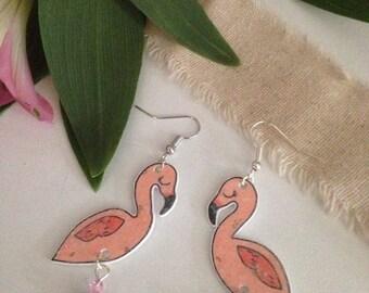 "Glittery pink Flamingo ""Tropichic"" earrings"