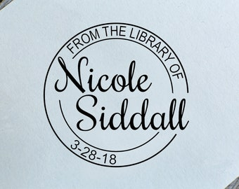 Personalized library stamp, From the library wood rubber stamp,from the library of stamp self inking, book stamp, teacher stamp