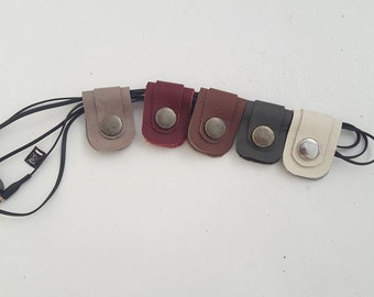 5 pcs: Hand Crafted Leather Headphone / Earphone Cable Ties, Cord Wrap, Organizer, Holder