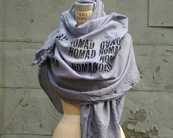 055 the Nomad scarf , large cotton hand printed scarf