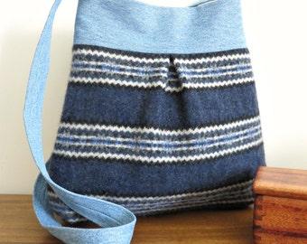 SALE - Bella Purse, Blue Stripes Sweater Wool and Denim, Upcycled Handbag/Tote in Repurposed Wool and Denim