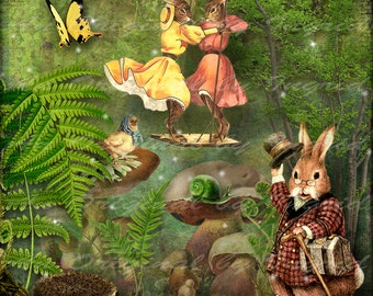 Easter Party Digital Collage Greeting Card (Suitable for Framing)