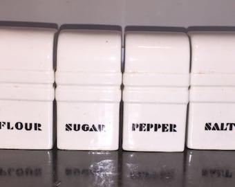 Deco Cannister Set Mid Century Retro Art Deco Salt Pepper 4 Pieces w Flour and Sugar Shakers