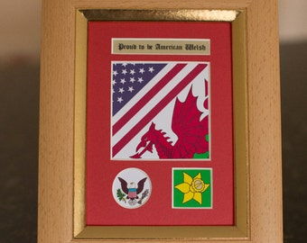 Proud to be American Welsh Frame - Wales, Family, heritage, ancestors, history, gift