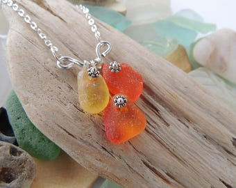 Rare Orange and Yellow Georgia Sea Glass Necklace with Silver Plated Chain, Authentic Sea Glass