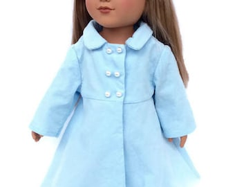 Baby Blue Doll Coat, 18 Inch Doll Coat, Corduroy Doll Coat, Light Blue Coat, 18 Inch Doll Clothes