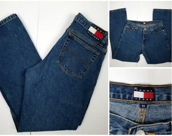 Vintage Tommy Hilfiger Jeans, Wide Leg Tommy Hilfiger Jeans, Large Flag Tommy Hilfiger, Medium Wash Tommy Jeans, Vintage Tommy Jeans