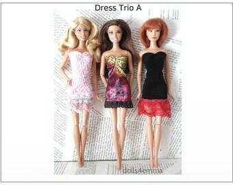 Barbie / Fashionistas Doll Clothes - Lot of 3 OOAK Dresses - DRESS TRIO A- Handmade Fashions by dolls4emma