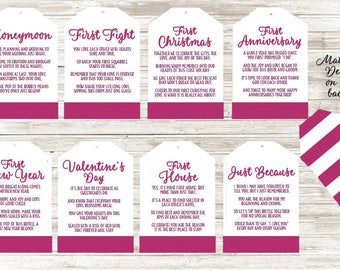 Set of 8 Wine Tags Wedding Shower Gift - Hot Pink Stripe Design Original Poems Special FIRST TIMES Wine Bottle Tags - 8 Poems for Newlyweds
