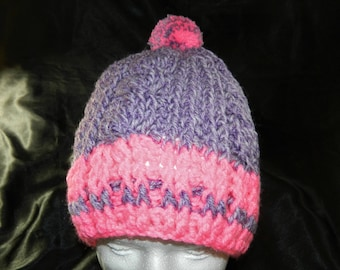 Crocheted Purple and Bright Pink Cabled Slouchy Beanie Hat with Pom