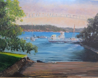 At Parsley bay  in Oil on Panel withour frame  Size 23.6cm x 33.2cm Original and no reproduction