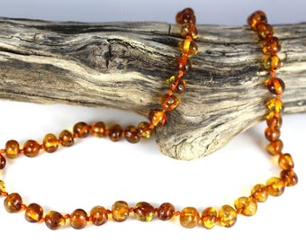 Genuine Baltic Amber Baby Teething Necklace, Cognac baroque beads, knotted necklace, Polished Rounded Beads  B1
