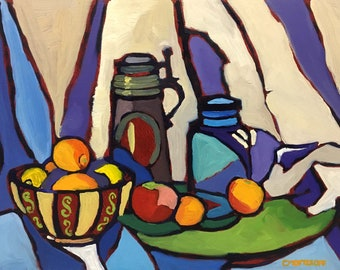 Bowl, Stein and Fruit Abstract Still Life Oil Painting
