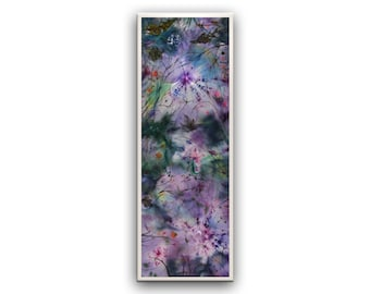 Wild flowers, long size wall hanging, vertical, horizontal, landscape, fairy art, print on canvas, mauve, purple, gift for home, relax art
