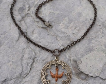 Scrollwork with Copper Bird Necklace