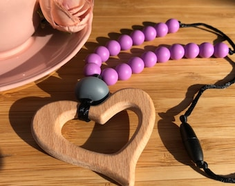Beechwood heart and silicone beaded necklace