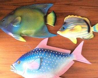 3 vintage Wooden Tropical Fish Beach Coastal Wall mount Hanging Decor- Hand  painted . Hand Carved Tropical fish