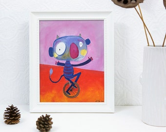 Circus Monster on Unicycle - 8x10 Print, Acrylic Painting, Whimsical, Colourful, Happy, Kid's Room Decor