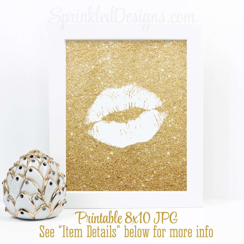 Gold Glitter Kiss Gold Glitter Lips Print Printable