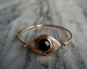 Luxury gold plated sterling silver bangle bracelet with black onyx