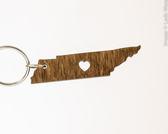 Tennessee Wooden Keychain - TN State Keychain - Wooden Tennessee Carved Key Ring - Wooden TN Charm